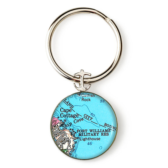Portland Head Lighthouse Fort Williams Anchor Key Ring