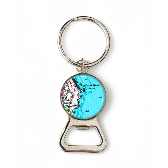 Portland Head Lighthouse Radio Towers Combination Bottle Opener With Key Ring