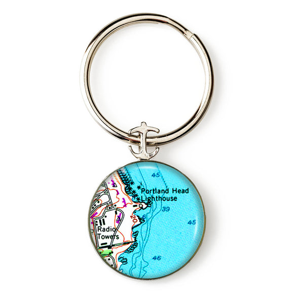 Portland Head Lighthouse Radio Towers Anchor Key Ring