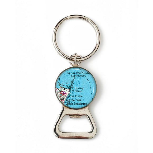 Portland Spring Point Lighthouse Combination Bottle Opener With Key Ring