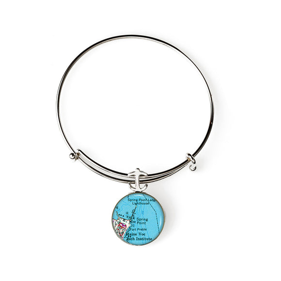 Portland Spring Point Lighthouse Expandable Bracelet with Anchor Charm