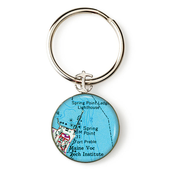 Portland Spring Point Lighthouse Anchor Key Ring