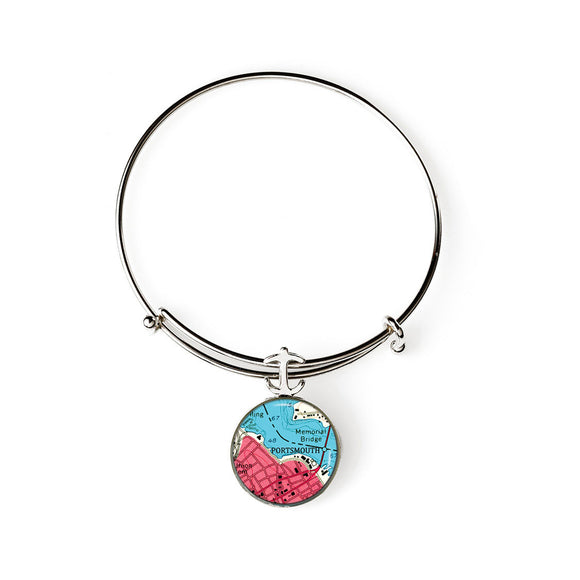Portsmouth Memorial Bridge Expandable Bracelet with Anchor Charm