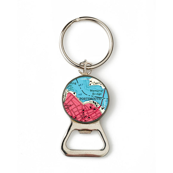 Portsmouth Memorial Bridge Anchor Combination Bottle Opener with Key Ring