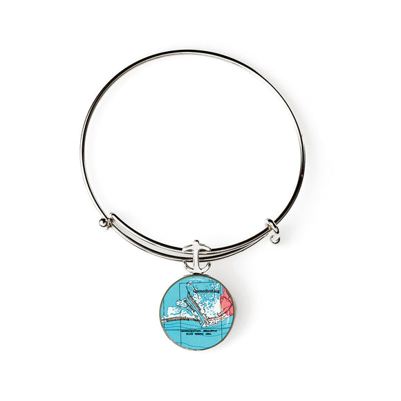 Quonochontaug Beach Expandable Bracelet with Anchor Charm