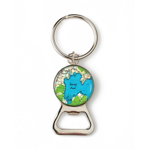 Round Pond Combination Bottle Opener with Key Ring