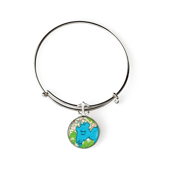 Round Pond Expandable Bracelet with Anchor Charm