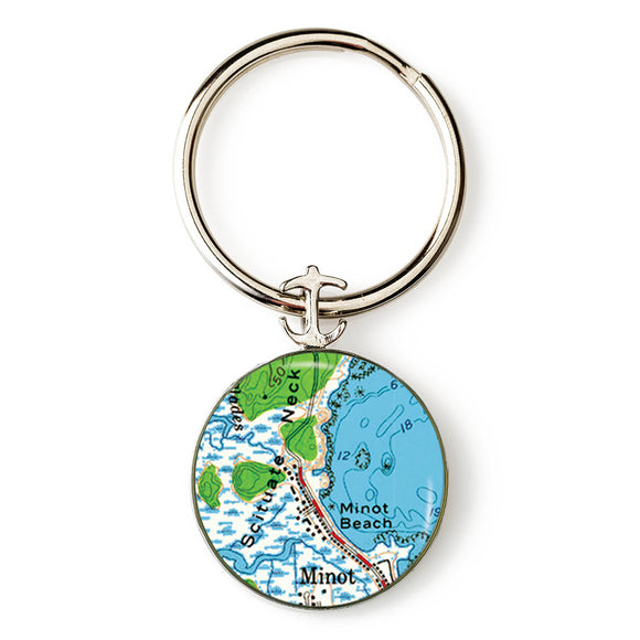 Scituate Minot Beach Anchor Key Ring