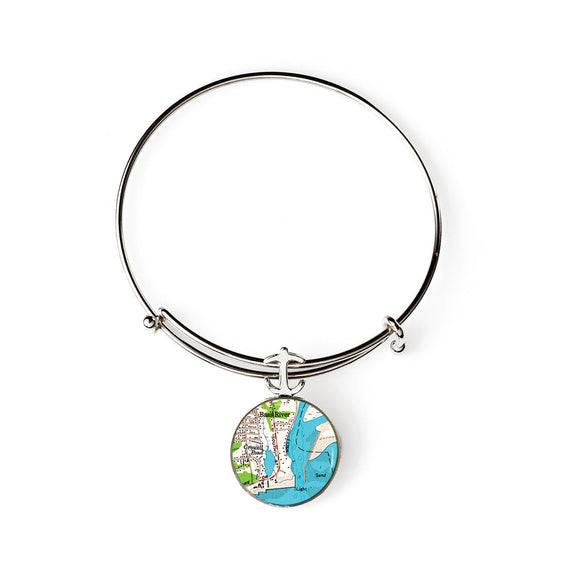 South Yarmouth Bass River Expandable Bracelet with Anchor Charm