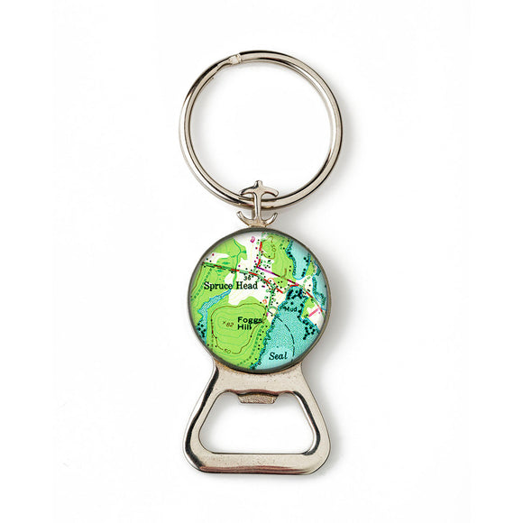 Spruce Head Combination Bottle Opener with Key Ring