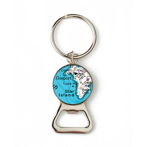 Star Island Anchor Combination Bottle Opener with Key Ring