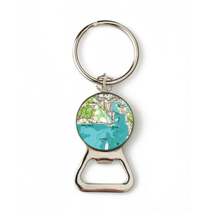 Wellfleet Mayo Beach Combination Bottle Opener with Key Ring