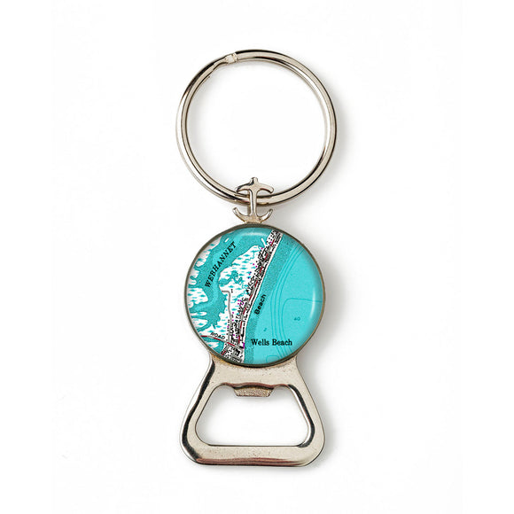 Wells Beach 2 Combination Bottle Opener with Key Ring