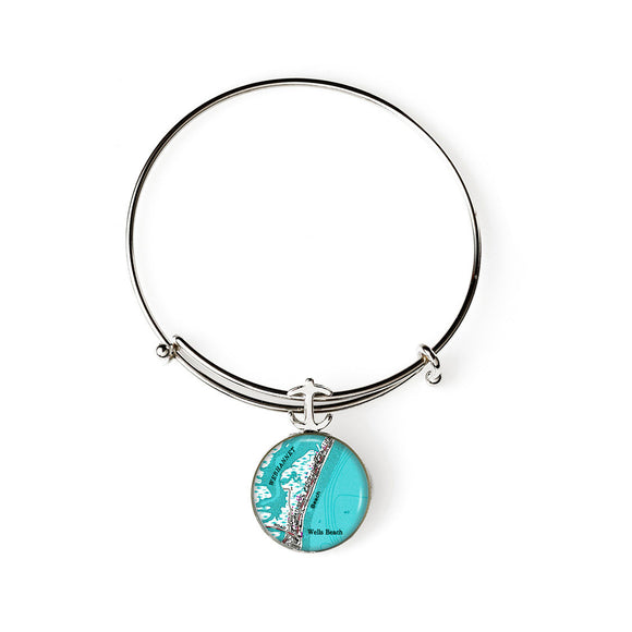 Wells Beach 2 Anchor Expandable Bracelet with Anchor Charm