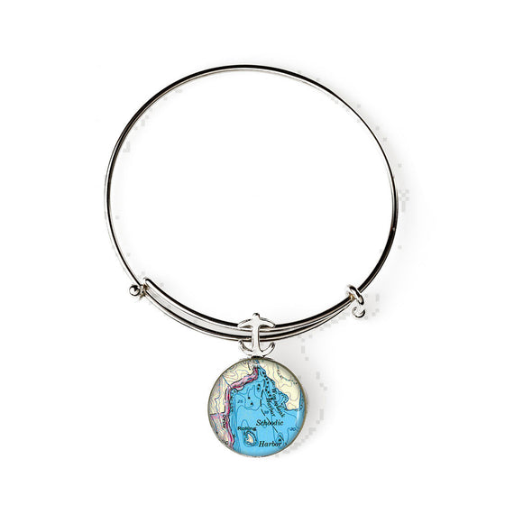 Winter Harbor Schoodic Harbor Expandable Bracelet with Anchor Charm