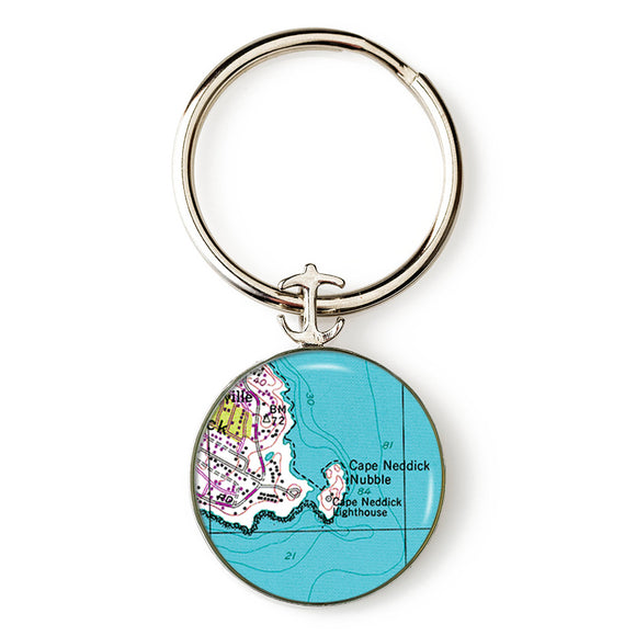 York Cape Neddick Nubble Lighthouse 2 Anchor Key Ring