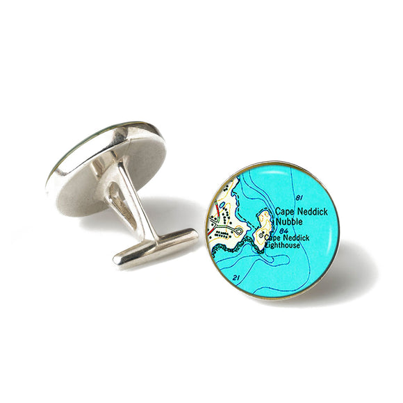 York Cape Neddick Nubble Lighthouse 3 Anchor Cufflinks