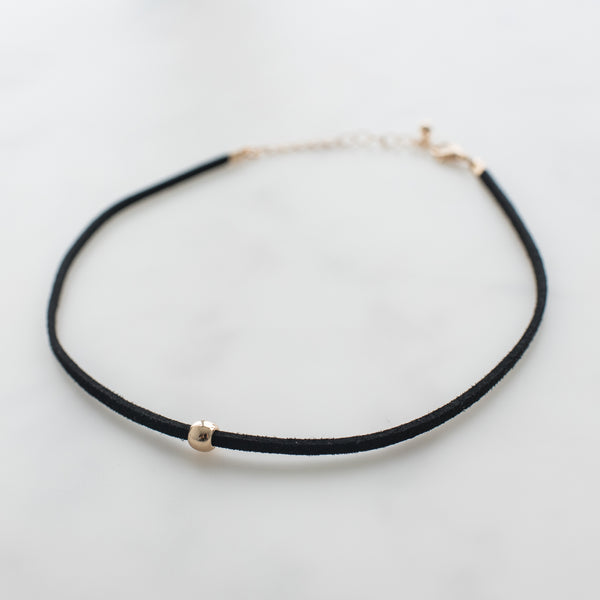 Black Choker Gold Bead