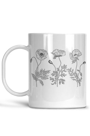 White Poppy Flowers Mug