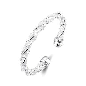 Silver Braided Cuff Bangle