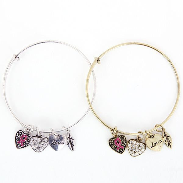 Pink Ribbon Charm Bangle/ Breast Cancer Awareness Jewelry