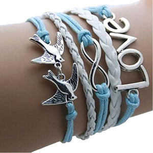 Flying Birds Love Infinity Bracelet