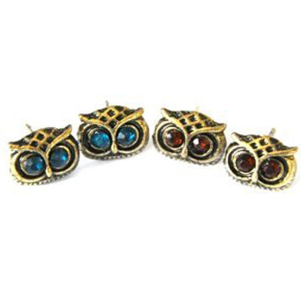 Crystal Owl Head Earrings