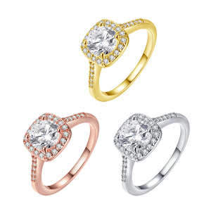 Crystal Halo Ring in 18K Gold Plated