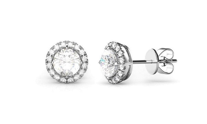 3.44 CTTW Halo Stud Earrings with Crystals