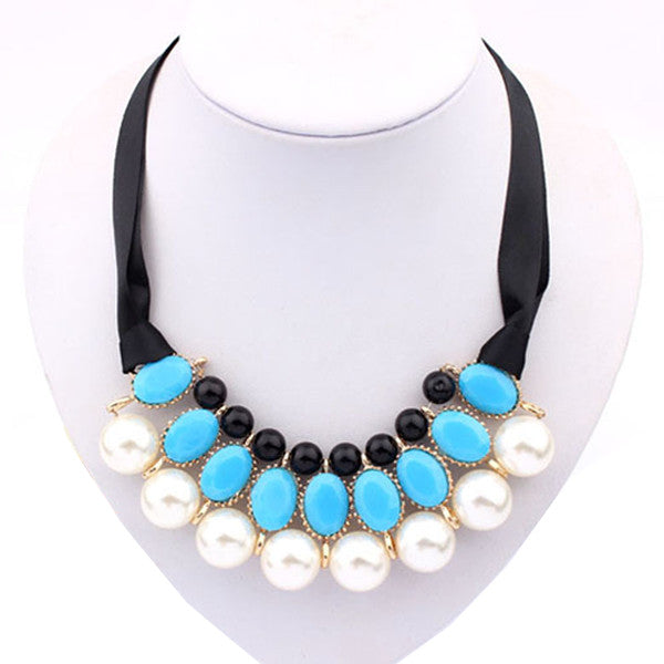 Ribbon Pearl Choker Statement Necklace
