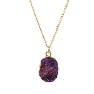 Purple Druzy Stone Necklace