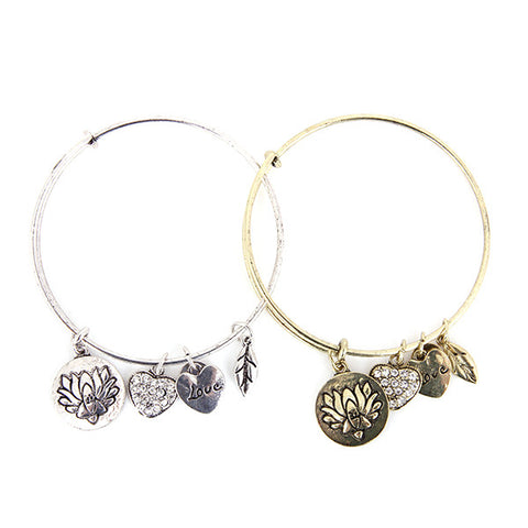 Lotus Love Charm Bangle