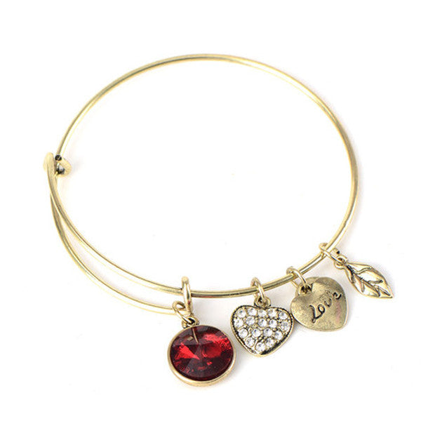 January Birthstone Charm Bangle