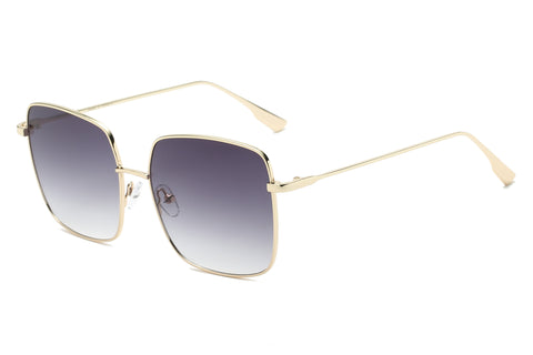 Women Fashion Metal Classic Square Flat Lens UV Protection Sunglasses