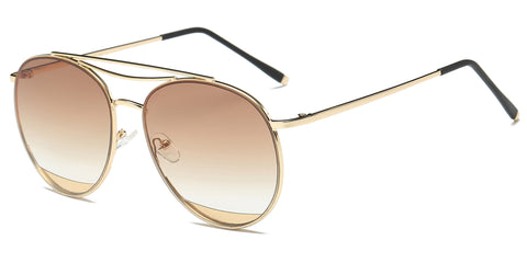 Women Classic Metal Round Oversized Aviator Style Fashion Sunglasses