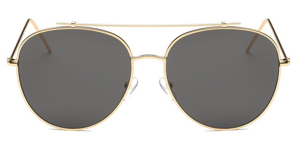 Classic Metal Mirrored Flat Lens UV Protection Fashion Aviator Sunglasses