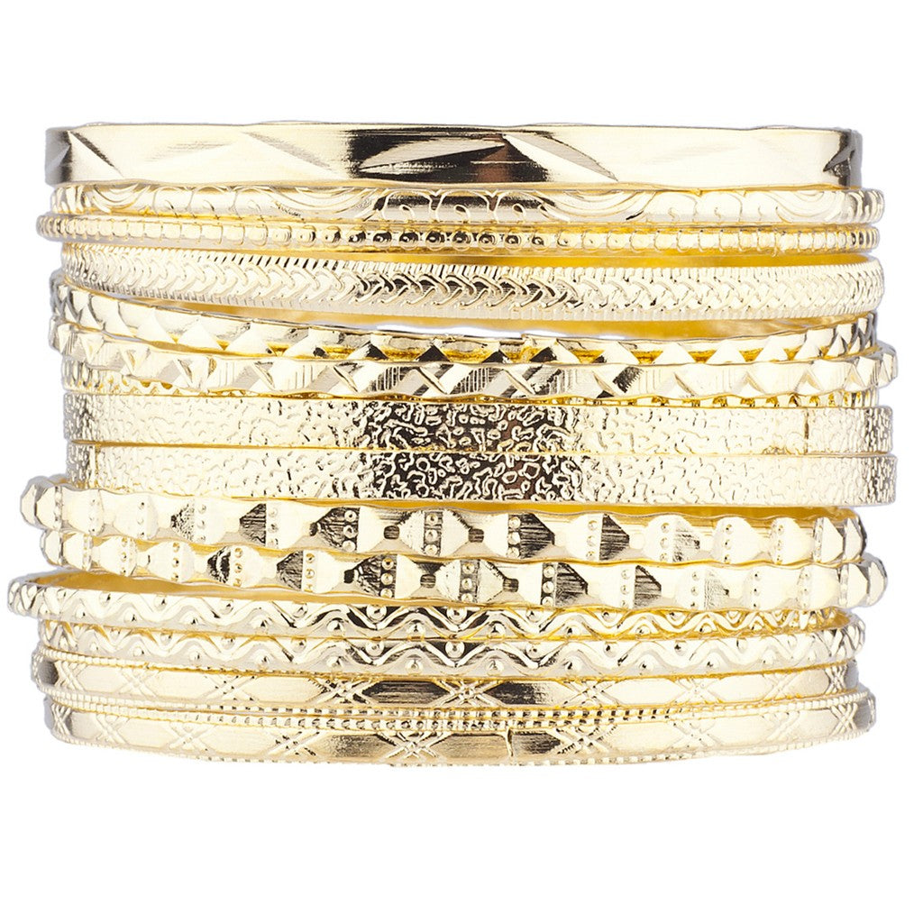 Gold Tone Aztec Etched Cased Multi Bangle Set of 15
