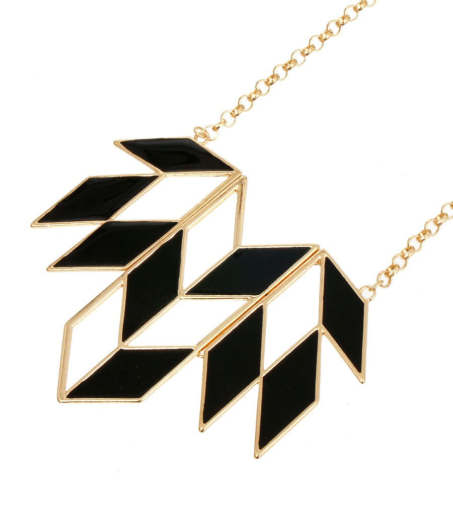 Black Geometric Necklace Set