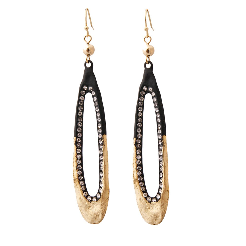 Matte Black Dipped in Gold Rhinestone Drop Earrings