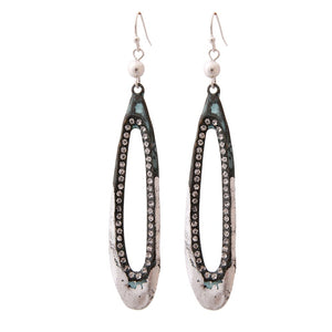 Verdigris Dipped in Silver Rhinestone Drop Earrings