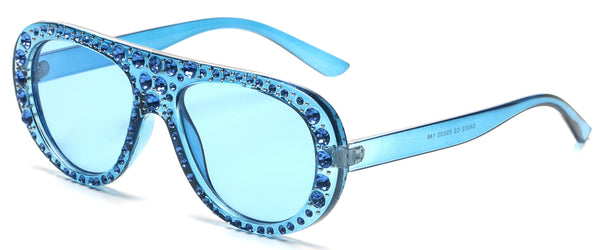 Women Fashion Rhinestone Aviator Sunglasses