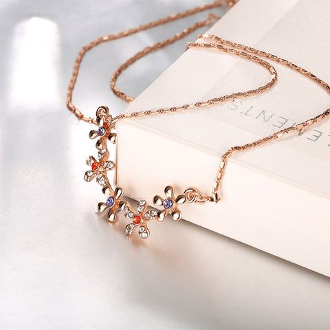18K Floral Connection Crystals Gold Plated Necklace