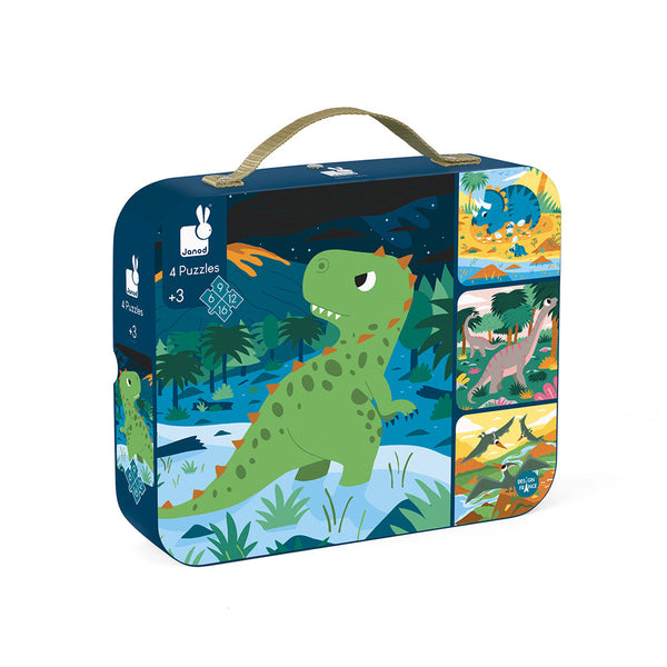 Janod Dinosaurs Suitcase Puzzle - Progressive Difficulty