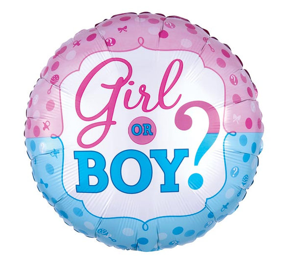 "Baby Girl or Boy Gender Reveal 17"" Balloon"