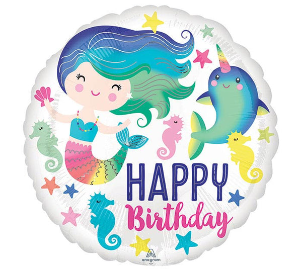 "Happy Birthday Colorful Mermaid 17"" Balloon"