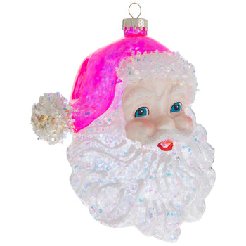 Pink Glitter Santa Head Ornament