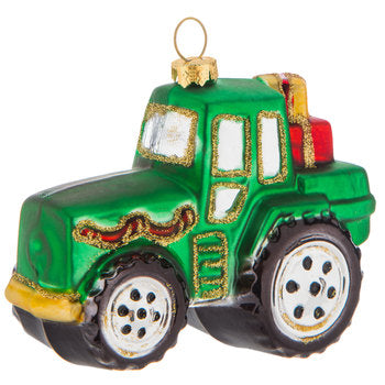 Green Tractor with Gifts Ornament