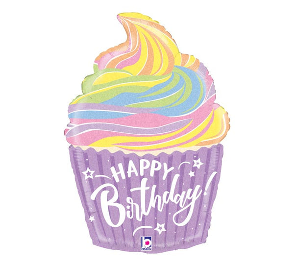 "Happy Birthday Pastel Cupcake 27"" Balloon"
