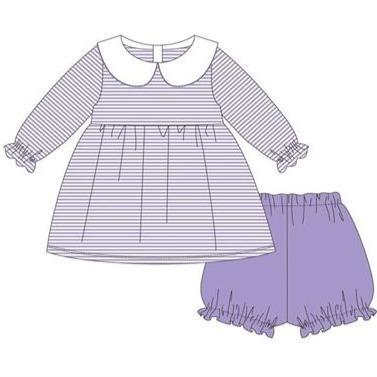 Jellybean Lavender Striped Knit Charlotte Bloomer Set