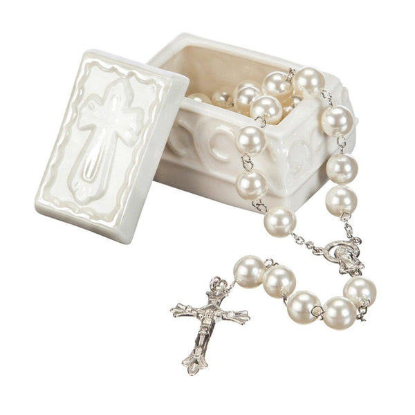 Ceramic Trinket Box with Rosary
